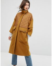 MAX&Co. | Max&co Desideri Quilted Panel Coat | Lyst