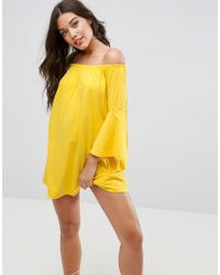 ASOS - Off Shoulder Mini Dress With Trumpet Sleeve - Lyst