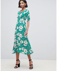 Liquorish - A-line Midi Dress With Keyhole And In Floral Print - Lyst