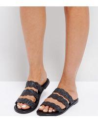 The March - Black Splatter Print Triple Strap Flat Sandals - Lyst