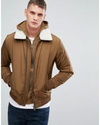 SELECTED - Flight Jacket With Removable Borg Collar - Lyst