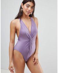 Pistol Panties - Joss Swimsuit In Lilac Shimmer - Lyst