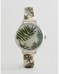 ASOS - Embroidered Palm Leaf Woven Watch - Lyst