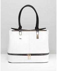 Yoki Fashion - Yoki Croc Effect Tote Bag With Contrast Handle - Lyst