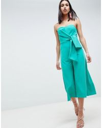 cfeebd1be497 ASOS - Bandeau Jumpsuit With Tie Detail And Culotte Leg - Lyst