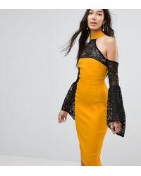 Vesper - Cold Shoulder Lace Bell Sleeve Dress - Lyst