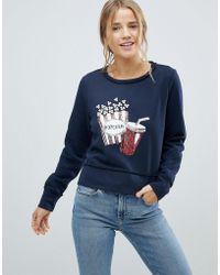 ONLY - Sunny Popcorn Sequined Print Sweatshirt - Lyst