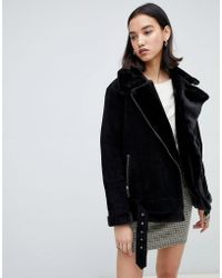 SELECTED - Femme Shearling Suede Aviator Coat - Lyst