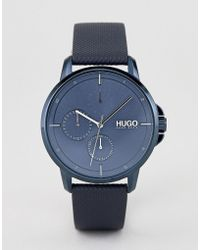 HUGO - 1530033 Focus Blue Dial Leather Strap Watch In Blue - Lyst