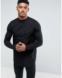 SIKSILK - Muscle Shirt In Black With Jersey Sleeves - Lyst