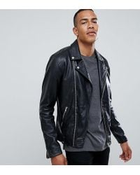 Barneys Originals - Giacca biker in vera pelle con zip - Lyst