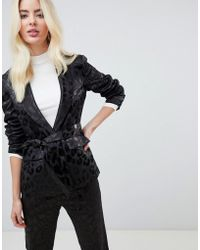 Fashion Union - Satin Leopard Tie Front Blazer Two-piece - Lyst
