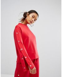 Daisy Street - Relaxed Sweatshirt With Popper Sleeves Co-ord - Lyst
