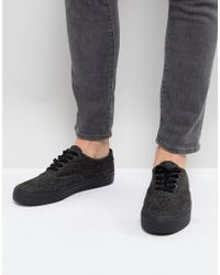 ASOS - Lace Up Sneakers In Black Warm Handle - Lyst