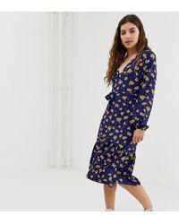e61e8a11385 ASOS · Glamorous - Midi Dress With Neck Tie In Sunflower Print - Lyst