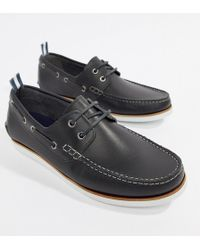 ASOS - Design Boat Shoes In Navy Leather With White Sole - Lyst