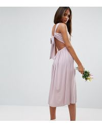 ASOS - Wedding V Front Ruched Midi Dress - Lyst