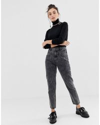 Stradivarius - Mom Fit Jean In Washed Grey - Lyst