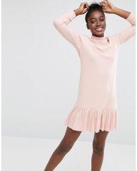 I Love Friday - High Neck Dress With Peplum Skirt In Rib - Lyst