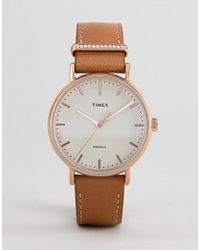 Timex - Tw2r70200 Fairfield Leather Watch In Tan - Lyst