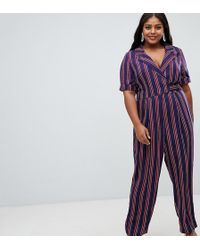 ASOS - Asos Design Curve Wrap Jumpsuit With Self Buckle In Stripe - Lyst