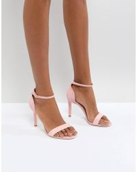 Dune - London Barely There Heeled Sandals In Pink Leather - Lyst