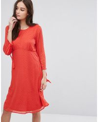 Vila | Spotty Mesh Swing Dress | Lyst