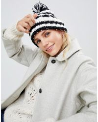 ec45335f91f French Connection - Stripe Knit Beanie Hat With Bobble - Lyst