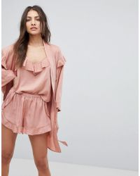 Y.A.S - Ruffle Robe With Gold Polka Dot - Lyst
