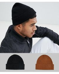 ASOS - 2 Pack Fisherman Beanie In Black & Tobacco Save - Lyst