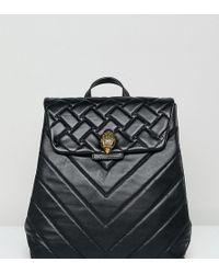 Kurt Geiger - Kurt Geiger Kensington Mini Black Leather Quilted Flap Over Backpack - Lyst