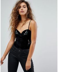 Fashion Union - Cami Body With Embroidery In Velvet - Lyst
