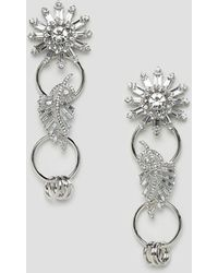 ASOS - Earrings With Linked Jewel Brooch Design In Silver - Lyst