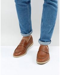 ASOS - Penny Loafers With Woven Detail In Tan - Lyst