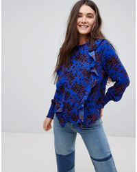 ONLY - Floral High Neck Blouse With Ruffles - Lyst