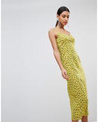 Fashion Union - Midi Slip Dress In Grunge Floral - Lyst