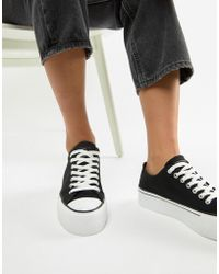 Pull&Bear - Lace Front Flatform Trainer - Lyst