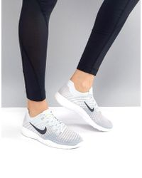 Nike - Training Free Flyknit Trainers In Grey And Blue - Lyst