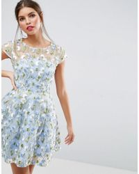 ASOS   Salon Floral Embroidered Skater Mini Dress   Lyst