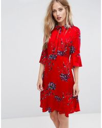 MAX&Co. - Max&co Penna Floral Fluted Sleeve Dress - Lyst