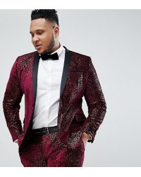ASOS - Plus Super Skinny Tuxedo Suit Jacket In Allover Burgundy Sequin - Lyst