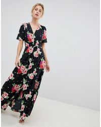 36f6612b1b2 Lyst - ASOS Frill Tea Maxi Dress In Floral Print in Green
