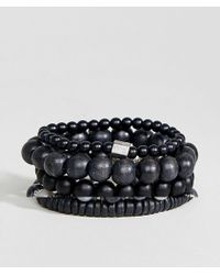 ALDO - Black Beaded Bracelets In 5 Pack - Lyst