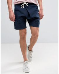 ASOS - Slim Shorts In Navy With Asymmetric Front And Tie Rope Waist Detail - Lyst
