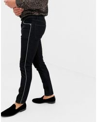 ASOS - Skinny Jeans In Black Wash With Piping - Lyst