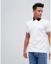 Tommy Hilfiger - Contrast Collar Tipped Pique Logo Polo Regular Fit In White - Lyst