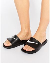 Nike - Kawa Swoosh Sliders Sandals In Black - Lyst