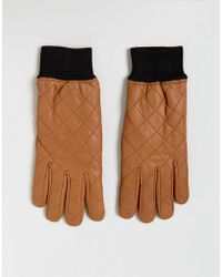 French Connection - Quilted Leather Gloves In Brown - Lyst