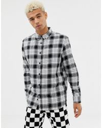 Bershka - Check Shirt In Black And White With Button Down Collar - Lyst