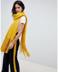 Pieces - Long Fringe Scarf - Lyst